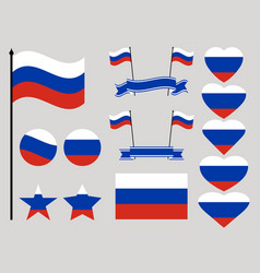 russia flag set collection of symbols heart vector image