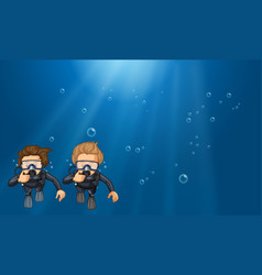 Scene with two scuba divers underwater vector