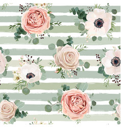 seamless pattern floral watercolor design garden vector image