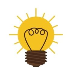 silhouette contour bulb in sun shape vector image vector image