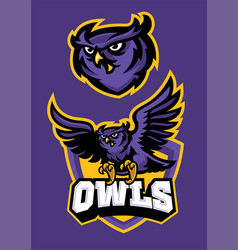 Sport mascot style of owl in set vector