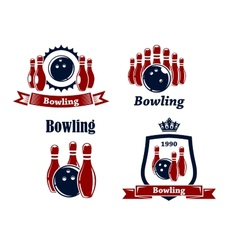 Sporting bowling emblems and symbols vector image vector image