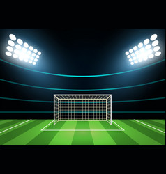 spotlights and football field card background vector image vector image