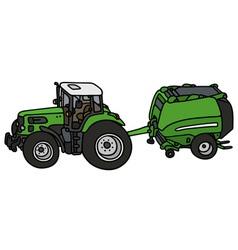 Tractor with a hay binder vector