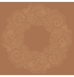 Traditional circle oriental floral ornament vector image