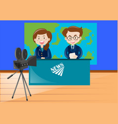 Two news reporters working at the studio vector