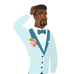 Young african-american groom scratching his head vector