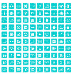 100 learning kids icons set grunge blue vector image vector image