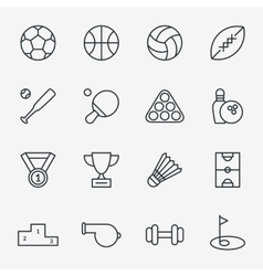 Sport icons in thin line style vector image