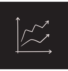 Growth graph sketch icon vector