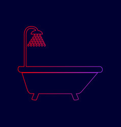 Bathtub sign  line icon with gradient from vector