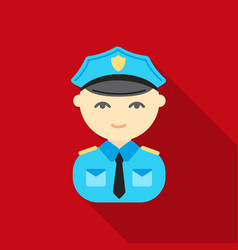 Policeman flat icon for web and vector