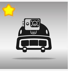 Police helmet action camera black icon vector