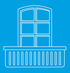 Retro window and balcony icon outline style vector