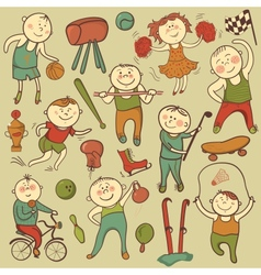 cartoon cute sport players vector image
