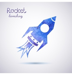 Watercolor rocket icon vector