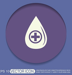 Drop with a cross medical symbol of liquid vector