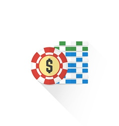 Color gambling chips set icon vector