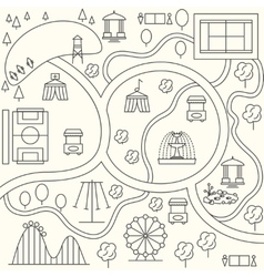 Park map in outline design style vector