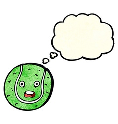 Cartoon tennis ball with thought bubble vector