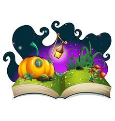 Storybook with pumpkin house at night vector image