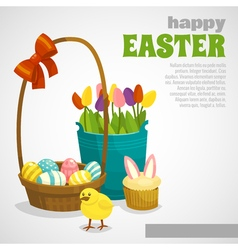 Easter card with eggs basket chick cupcake flowers vector