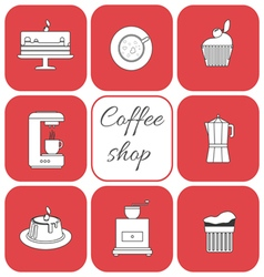 Set of coffee items vector