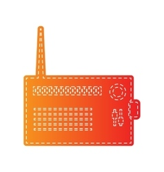Radio sign  orange applique isolated vector