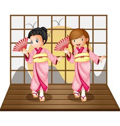 Asian dancers vector image