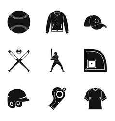Baseball tournament icons set simple style vector