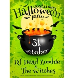 Bright green Halloween party poster template with vector image
