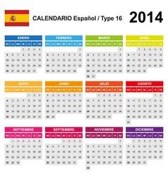 Calendar 2014 Spain Type 16 vector image vector image