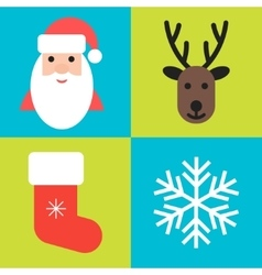 Christmas holiday symbols - santa deer sock and vector image vector image