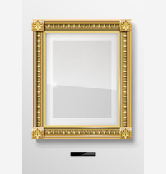 Empty classic portrait painting in gold frame vector