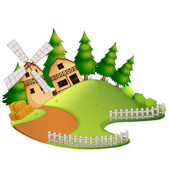 Farm scene with barn and windmill vector