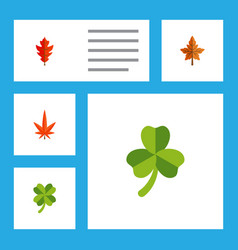Flat icon maple set of frond leafage aspen and vector