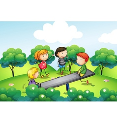 Four kids playing with the seesaw at the hill vector