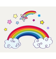 Hand drawn cartoon rainbow clouds and falling vector