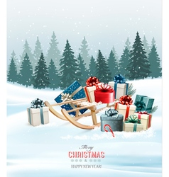 Holiday christmas greeting card with a colorful vector