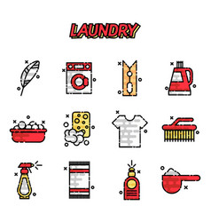 Laundry cartoon concept icons vector