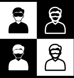 Man with sleeping mask sign black and vector