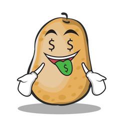 Money mouth potato character cartoon style vector