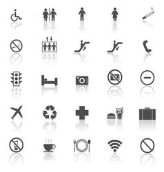 Plublic icons with reflect on white background vector