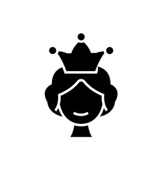 queen icon black sign on vector image