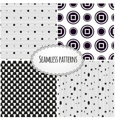 Set of geometric seamless patterns modern stylish vector