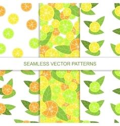 Set of seamless citrus pattern lemon pattern vector