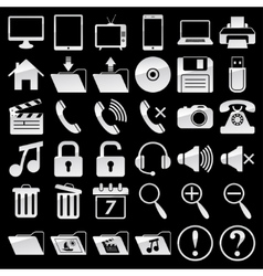 Set of web and media icons vector