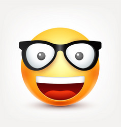 smileyemoticon with glasses yellow face with vector image