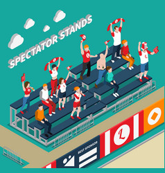 spectator stands with fans isometric vector image vector image
