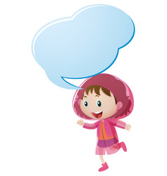 Speech bubble template with girl in pink raincoat vector